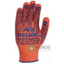 Перчатки с точкой ПВХ оранжевые, 526
