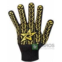 Перчатки с ПВХ Звезда черная желтая, 562